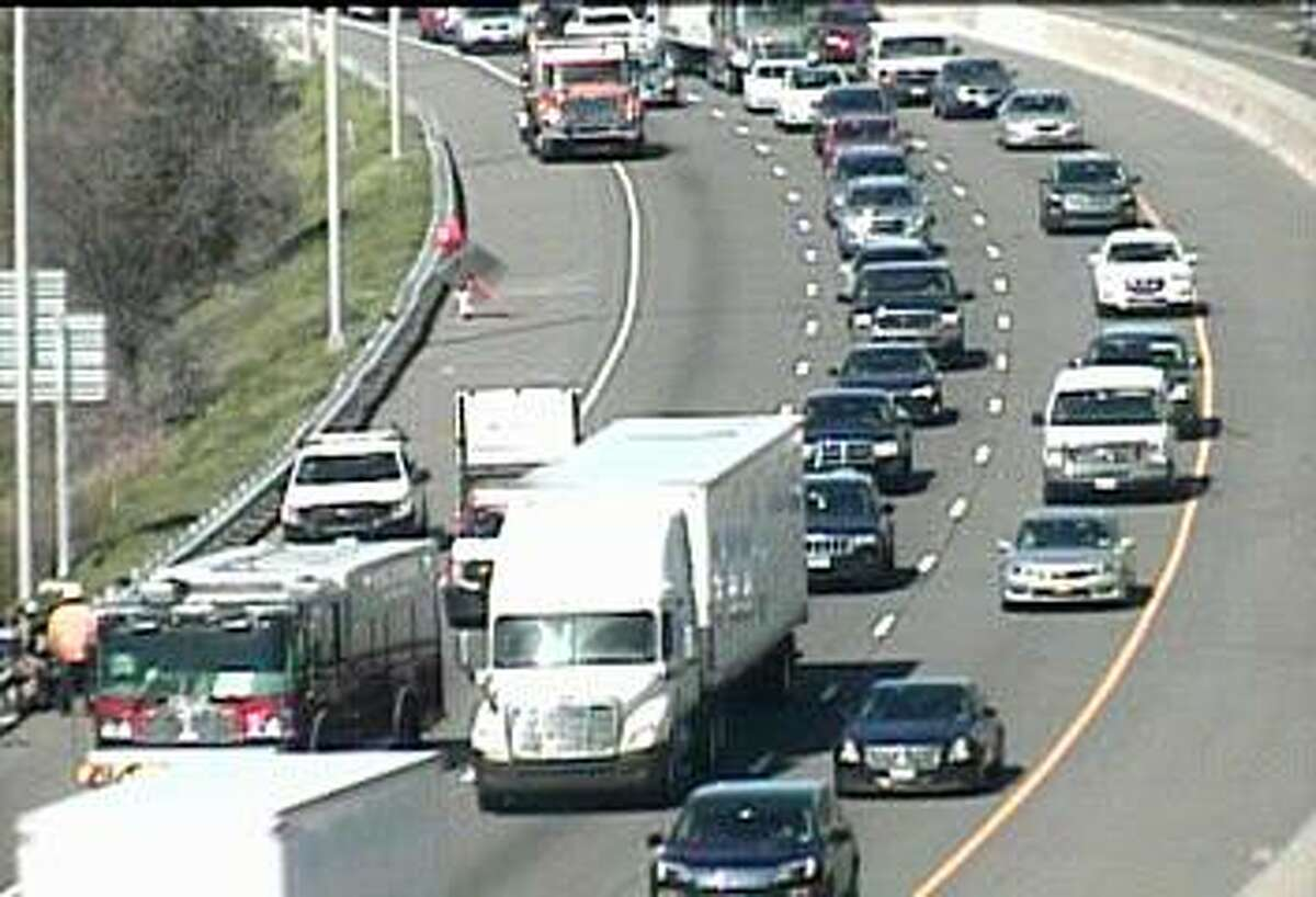 A three-vehicle accident caused heavy northbound delays in Milford on Wednesday, April 24, 2019. The accident, reported before 10 a.m., has closed the right lane between Exits 38 and 39A.