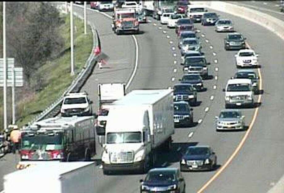A three-vehicle accident caused heavy northbound delays in Milford on Wednesday, April 24, 2019. The accident, reported before 10 a.m., has closed the right lane between Exits 38 and 39A. Photo: CT DOT