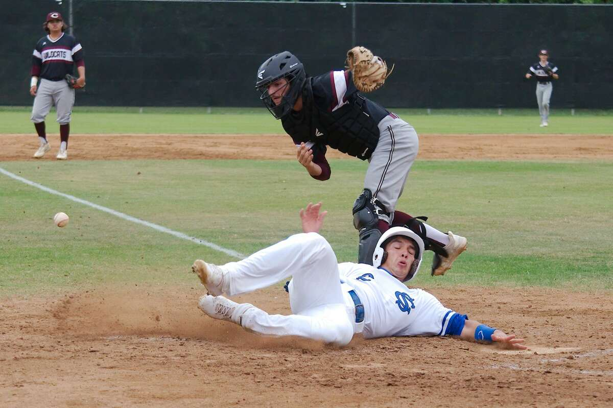 Clear Springs' Michael Cervantes (2) slips past Clear Creek's Andrew Cardi (10) Tuesday, Apr. 23 at Clear Springs High School.