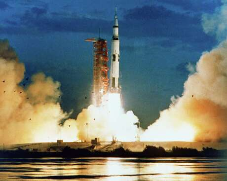 The Apollo 4 mission lifted off on time at 7:00 a.m. EST on Nov. 9, 1967.  Credit: NASA  First launch from Launch Pad 39A Eastern Test Range, Cape Kennedy, Fla. First Saturn V launch Saturn-V AS-501 Firing Room 1