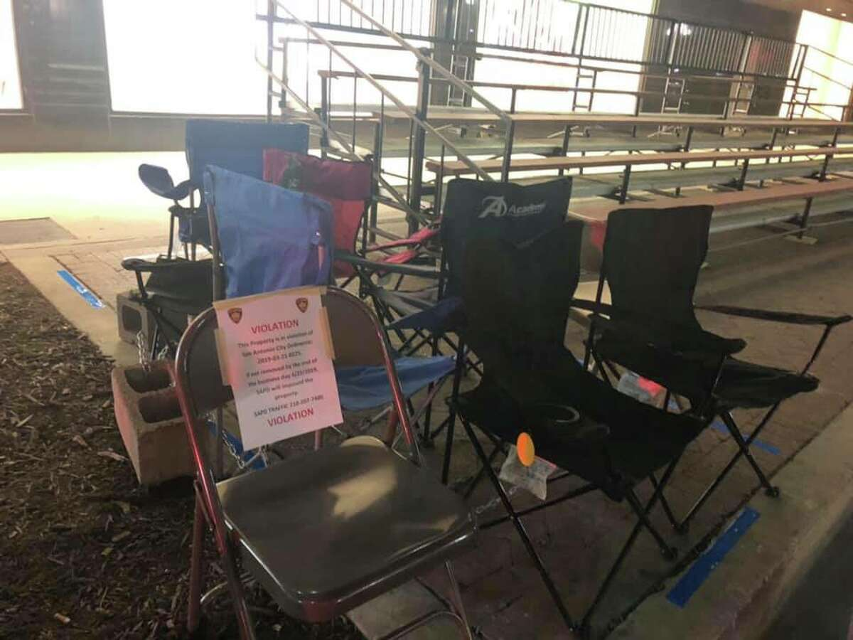 Chairs put out to reserve spots along the Battle of Flowers parade route downtown are being targeted by SAPD. The department is enforcing a city ordinance banning chairs on the sidewalk before Thursday at 3 p.m.