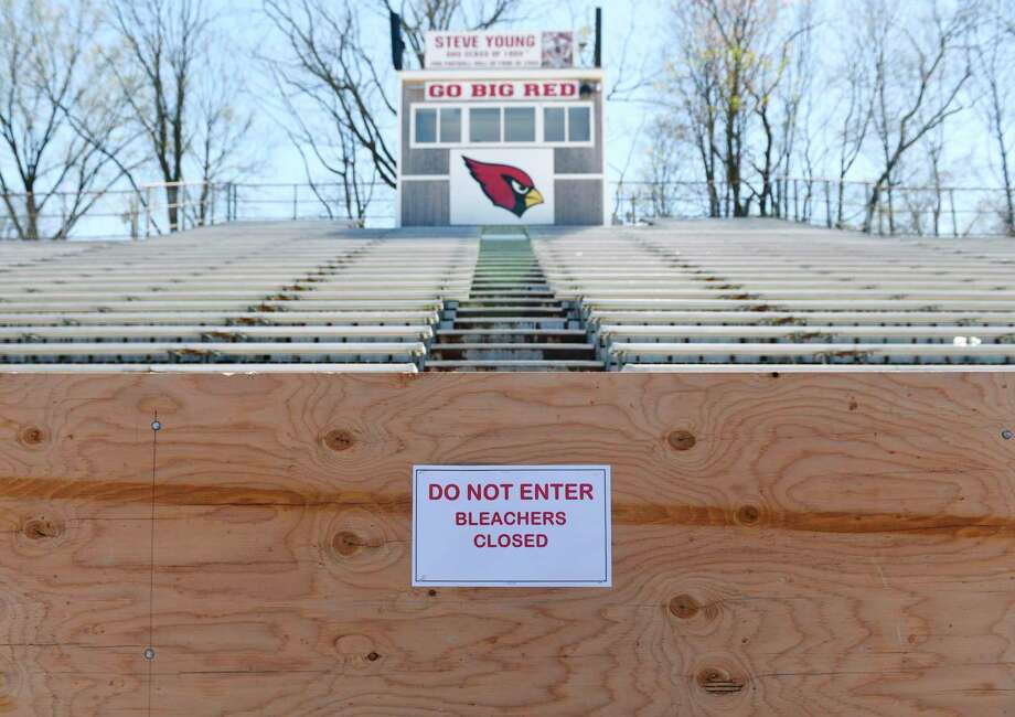 The Cardinal Stadium home bleachers are closed during the boy's lacrosse game at Greenwich High School in Greenwich, Conn. Thursday, April 16, 2019. The home-side bleachers are closed pending repair to bring them up to current code. Photo: File / Tyler Sizemore / Hearst Connecticut Media / Greenwich Time