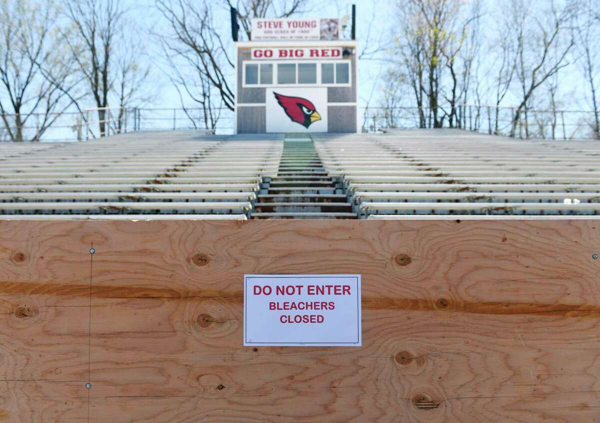 The Cardinal Stadium home bleachers are closed during the boy's lacrosse game at Greenwich High School in Greenwich, Conn. Thursday, April 16, 2019. The home-side bleachers are closed pending repair to bring them up to current code or replace them, Superintendent of Schools Ralph Mayo announced Monday evening.