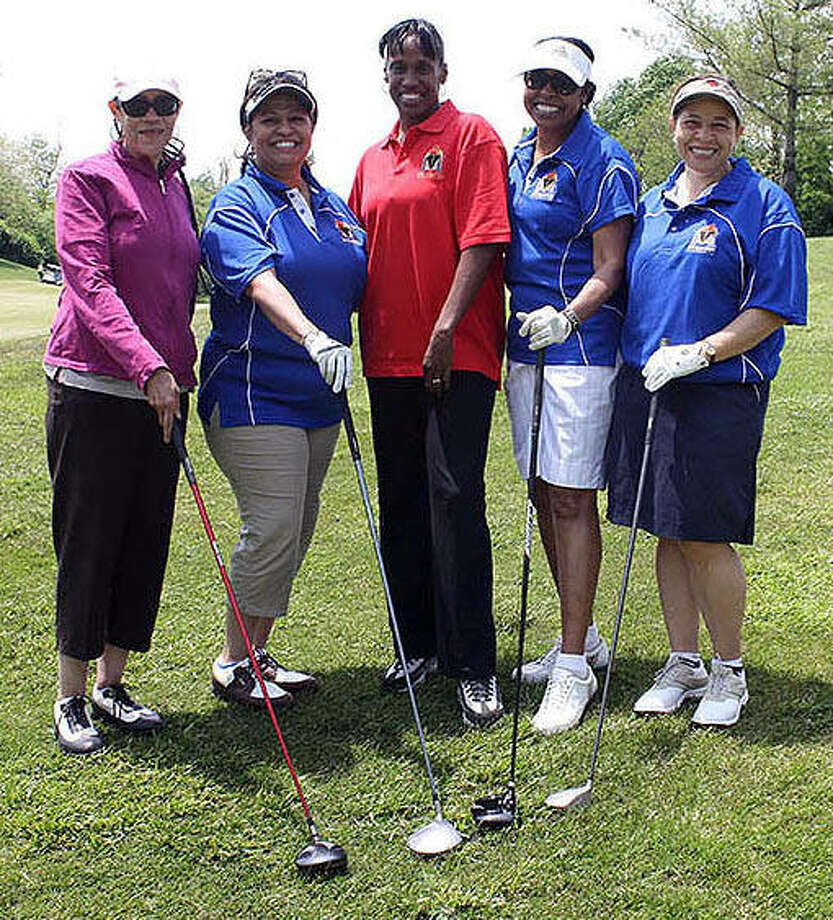 From left to right are Mona Smith, Alisa Warren, Jackie Joyner-Kersee, Myrtle Dickson and Michelle Sherod.