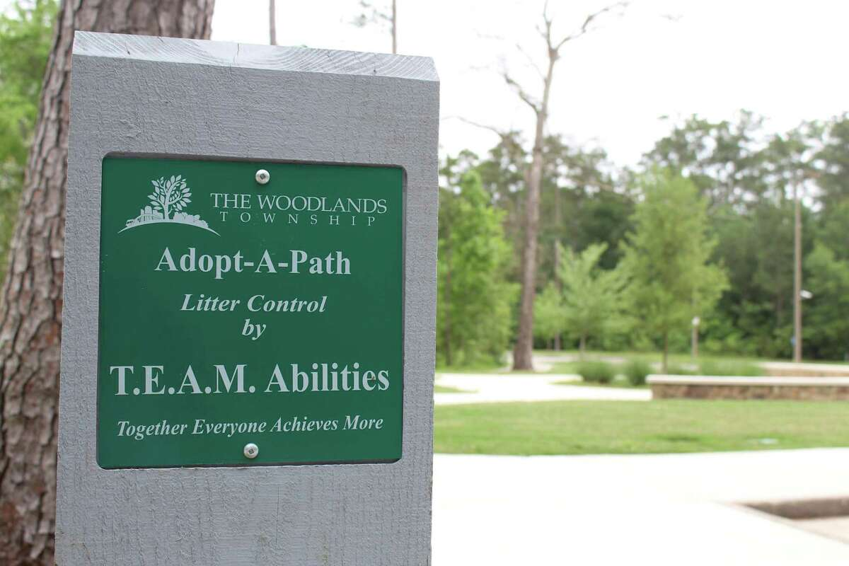 Over the course of a year, the TEAM Abilities special needs group visited parks around The Woodlands and decided to officially adopt Bear Branch Park as part of The Woodlands Township's Adopt-A-Path program. They are one of nearly 70 groups that pick up litter in the township's pathways and parks.