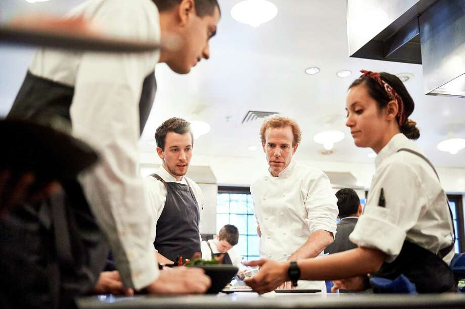 Executive chef Dan Barber, center right, and chef Bastien Guillochon, center left. Photo: Photo By Jennifer May For The Washington Post. / For The Washington Post