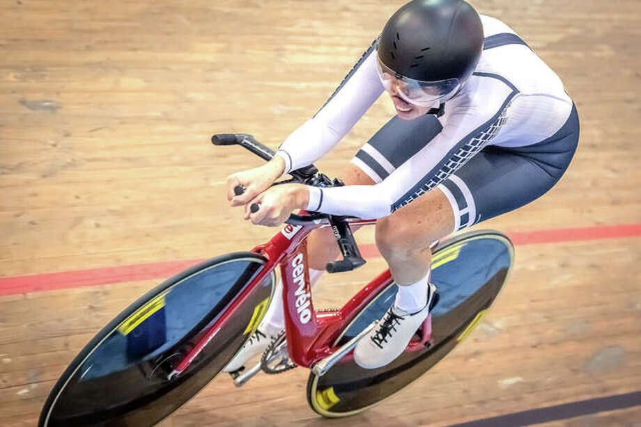 Liz Heller competes in the 2018 UCI Masters World Championships in Los Angeles. Heller, a world-class cyclist, is a full-time attorney and a partner at Goldenberg Heller & Antognoli, P.C. in Edwardsville.  Photo: Courtesy Of Craig Huffman | For The Intelligencer