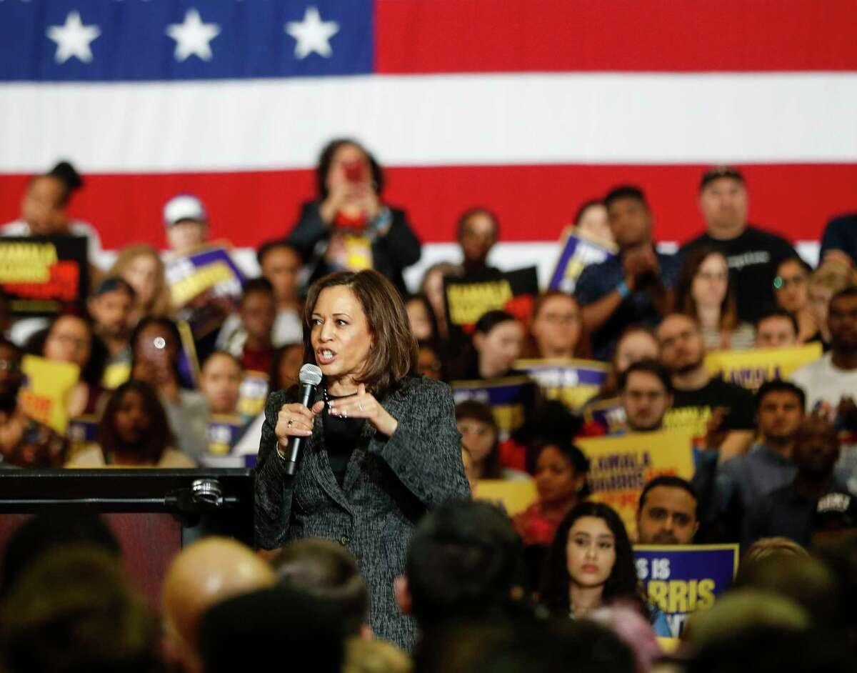 Kamala Harris speaks during her rally Saturday at Texas Southern University's Recreational Center,Saturday, March 23, 2019, in Houston.