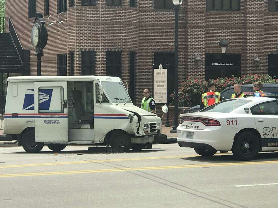 Montgomery PD reported an officer is OK after a crash with a USPS truck that totaled the patrol car on April 13. Photo: Meagan Ellsworth / Meagan Ellsworth