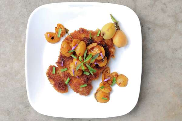 Chicken Schnitzel with Loquats
