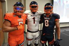 Albany Empire's 518; Rodney Fritz, left, Joe Sykes, center, and Terence Moore, right, on Monday, April 22, 2019, during a media day event at the Hearst Media Center in Colonie, N.Y. (Will Waldron/Times Union)