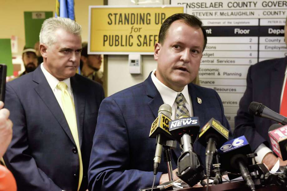 Saratoga County Clerk Craig Hayner voices his opposition to legislation that would provide illegal immigrants with driver's license during a press event at the Rensselaer County DMV office on Wednesday, April 24, 2019, in Troy, N.Y.   (Paul Buckowski/Times Union) Photo: Paul Buckowski, Albany Times Union / (Paul Buckowski/Times Union)