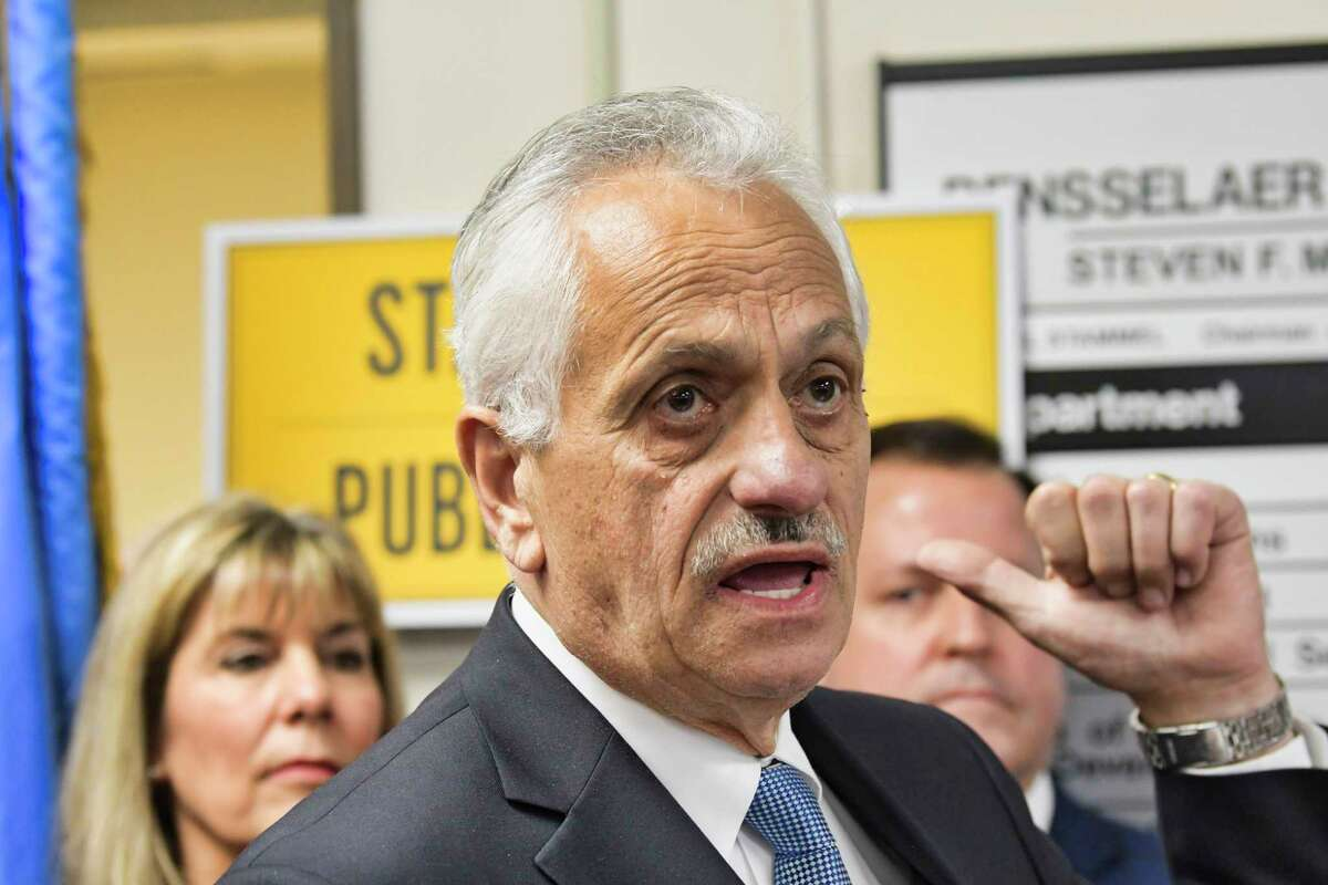 Rensselaer County Clerk Frank Merola voices his opposition to legislation that would provide illegal immigrants with driver's license during a press event at the Rensselaer County DMV office on Wednesday, April 24, 2019, in Troy, N.Y. (Paul Buckowski/Times Union)