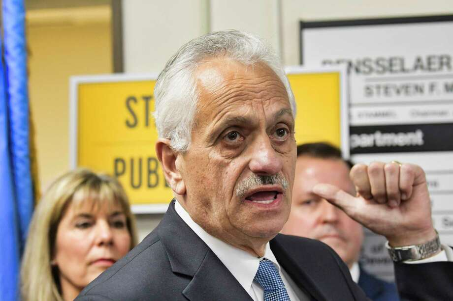 Rensselaer County Clerk Frank Merola voices his opposition to legislation that would provide illegal immigrants with driver's license during a press event at the Rensselaer County DMV office on Wednesday, April 24, 2019, in Troy, N.Y.   (Paul Buckowski/Times Union) Photo: Paul Buckowski, Albany Times Union / (Paul Buckowski/Times Union)