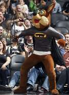 The Spurs Coyote wears a batman costume soon after Manu Ginobili swatted a bat down in mid-flight during a game.