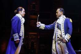 """Joseph Morales, from left, and Marcus Choi star in the touring production of """"Hamilton"""" which will make its San Antonio debut at the Majestic Theatre."""