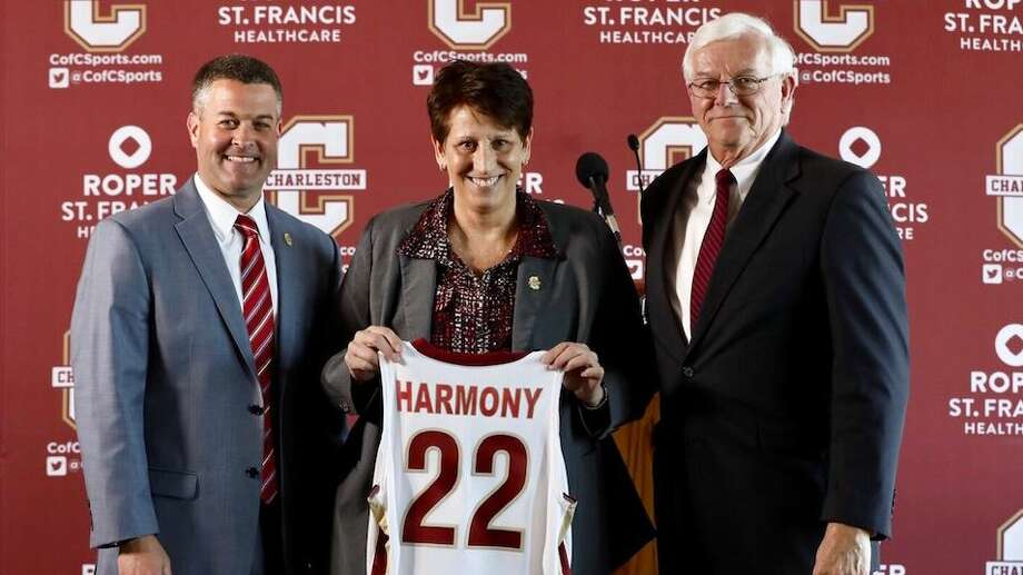 Robin Harmony (middle), who spent the last six season coaching the Lamar University women's basketball team, was introduced on Wednesday as the next at the College of Charleston. Photo provided by College of Charleston athletics. Photo: College Of Charleston