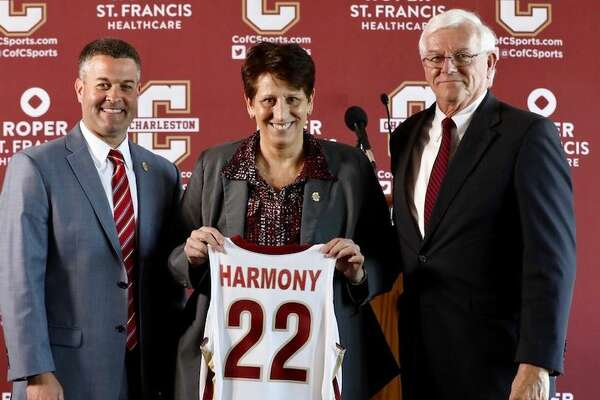 Robin Harmony (middle), who spent the last six season coaching the Lamar University women's basketball team, was introduced on Wednesday as the next at the College of Charleston. Photo provided by College of Charleston athletics.