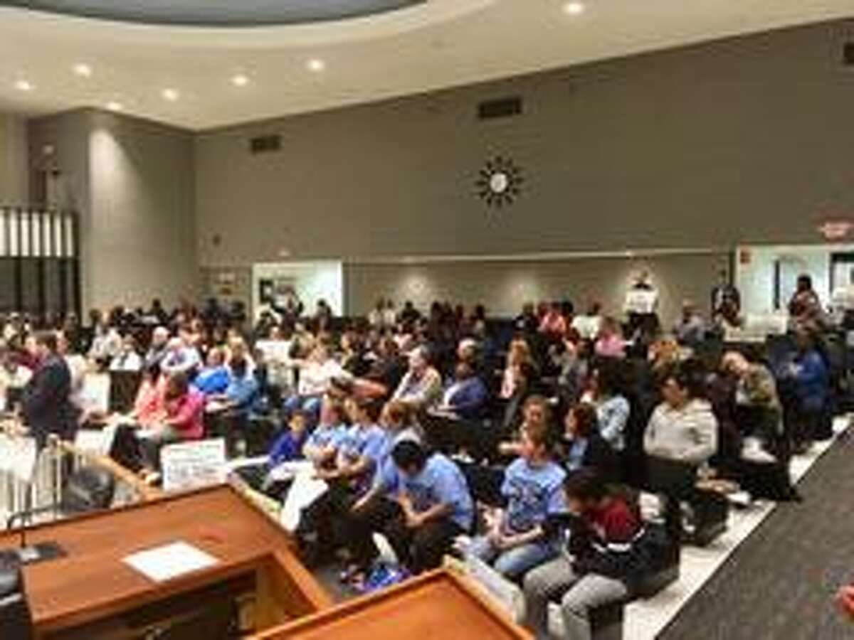 The crowd at theApril 23, 2019 City Council hearing on the Bridgeport School budget.