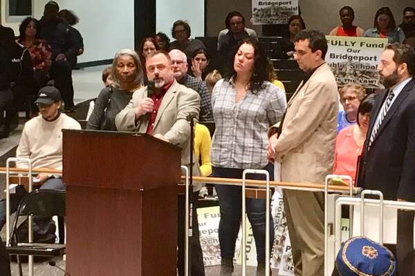 The City School Board puts out a united front at the April 23, 2019 City Council hearing on the Bridgeport School budget.