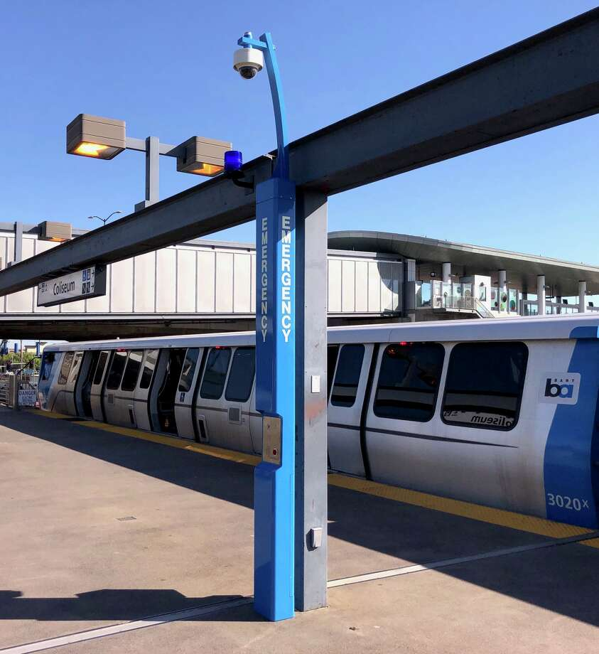 BART announced Wednesday it had installed three bright blue emergency call boxes on the platform at Coliseum Station as part of a pilot program. Photo: BART