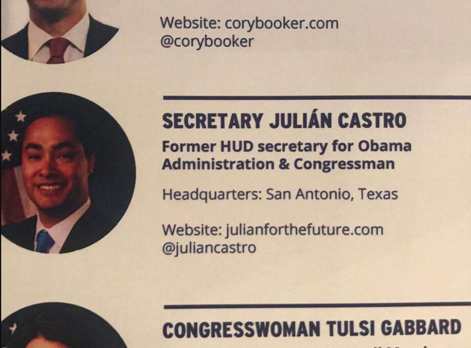 The program for the She The People forum for Democratic presidential candidates at Texas Southern University on Wednesday, April 24, 2019 mistakenly used a photo of Congressman Joaquin Castro in the program instead of presidential candidate and former HUD secretary Julián Castro, who is participating in the forum. Photo: Jeremy Wallace/San Antonio Express-News