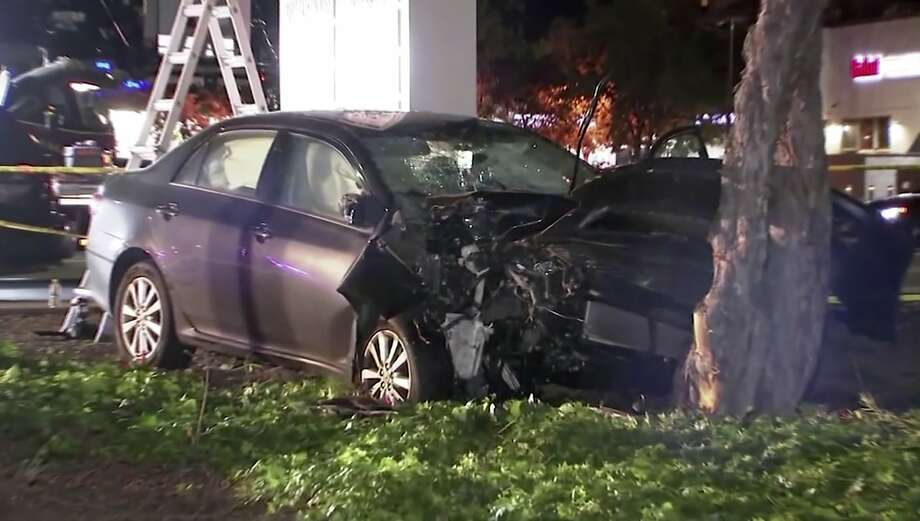 This April 23, 2019, image from video provided by KGO-TV, shows the scene of a car crash where several pedestrians were struck and injured in Sunnyvale, Calif. The FBI says it's assisting California officials in the investigation of a motorist who appeared to deliberately plow into the group of people. (KGO-TV via AP) Photo: Associated Press