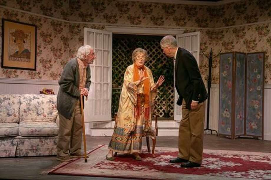 "Ron Malyszka (Wilf), left, Jody Bayer (Cissy), Timothy Breslin (Reggie) in ""Quartet"" at TheatreWorks New Milford. Photo: Richard Pettibone / Contributed Photo"