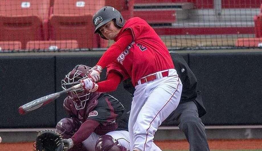 SIUE catcher Brock Weimer connects on a grand slam to tie the program record for career home runs. Photo: SIUE