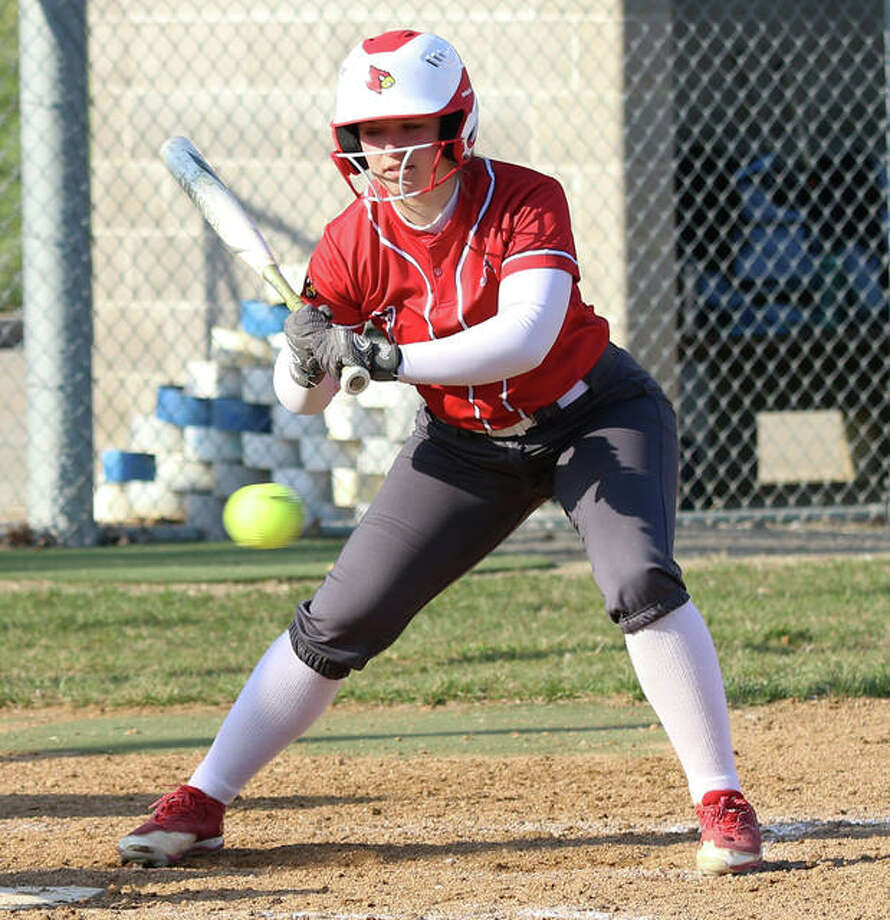 Alton's Lynna Fischer, shown taking a pitch off the plate in a game earlier this season at Alton High, was back at home Tuesday and hit a first-inning grand slam to propel the Redbirds to a SWC victory over O'Fallon. Photo: Greg Shashack / The Telegraph
