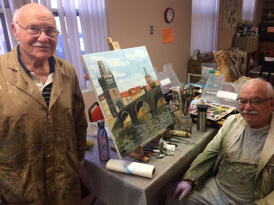 Wallace Sloves and Barry Wilensky, both of Stratford, participate in the painting program at the Derby Senior Citizen Center. Both are in favor of Susan Churchill, the interim director retaining her job on a permanent basis. The city announced this week the position was opened and applications are being accepted. Photo: /Michael P. Mayko