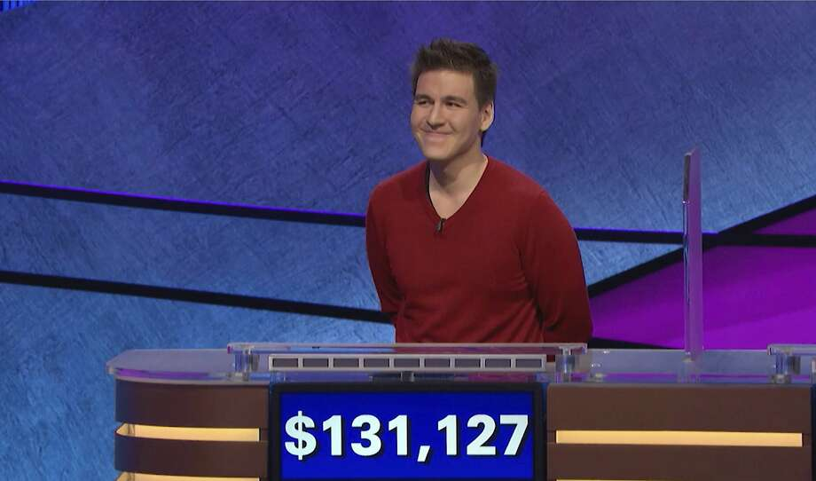 "FILE - This file image made from video and provided by Jeopardy Productions, Inc. shows ""Jeopardy!"" contestant James Holzhauer on an episode that aired on April 17, 2019. On his 14th appearance Tuesday, April 23, 2019, Holzhauer eclipsed the $1 million mark in winnings. (Jeopardy Productions, Inc. via AP) Photo: Associated Press"