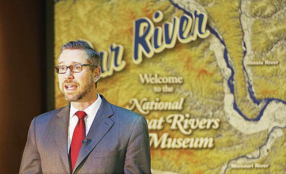 Illinois State Treasurer Michael Frerichs talks at the National Great Rivers Museum adjacent to the Melvin Price Locks and Dam 26 in Alton last year. Photo: John Badman | Hearst Media File Photo
