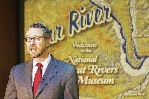 Illinois State Treasurer Michael Frerichs talks at the National Great Rivers Museum adjacent to the Melvin Price Locks and Dam 26 in Alton last year.