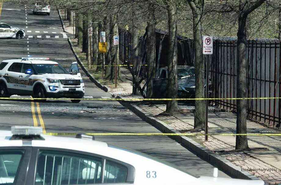 Division Street near Sheffield Avenue in New Haven on April 24, 2019 where shots were reportedly fired. Photo: Keith McDonald / Contributed Photo