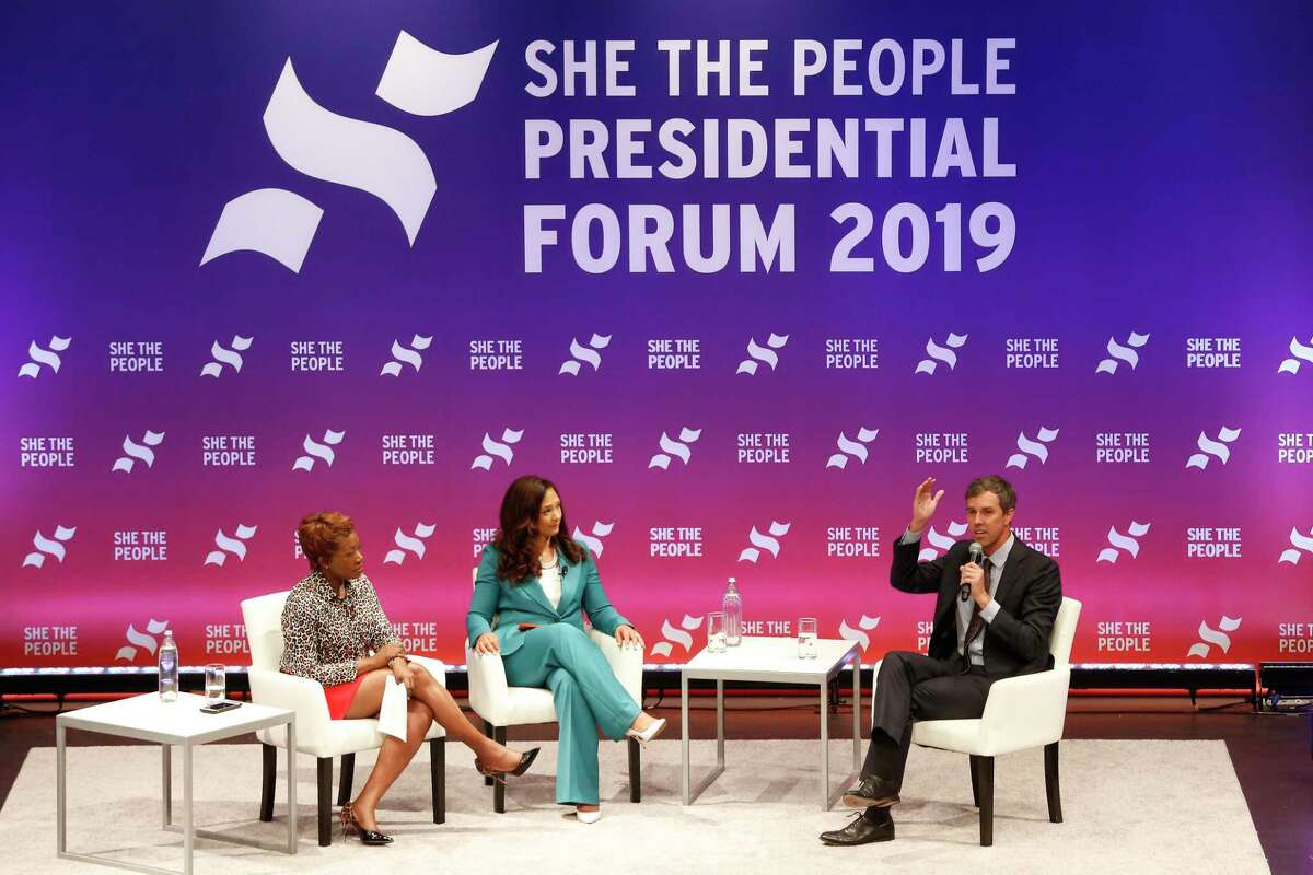Presidential candidate Beto O'Rourke talks during, She The People, the first-ever Presidential candidate forum focused on issues important to women of color on the campus of Texas Southern University Wednesday, April 24, 2019, in Houston.