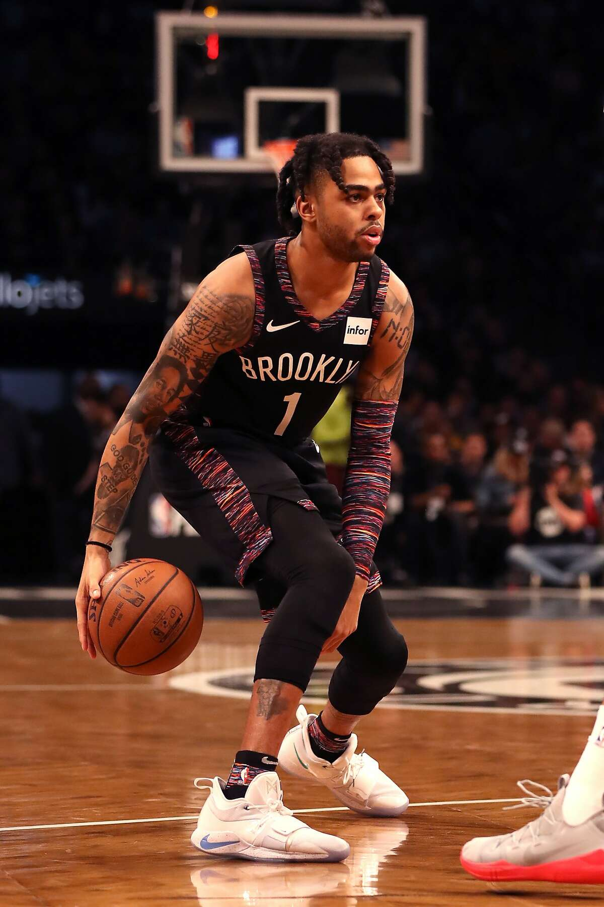 D'Angelo Russell #1 of the Brooklyn Nets handles the ball in the first quarter against the Philadelphia 76ers during game three of Round One of the 2019 NBA Playoffs at Barclays Center on April 18, 2019 in the Brooklyn borough of New York City.