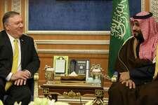 Secretary of State Mike Pompeo meets with Crown Prince Mohammed bin Salman in Riyadh, Saudi Arabia. Saudi Arabia and the crown prince have not suffered appreciably after murdering dissident Jamal Khashoggi in Turkey.