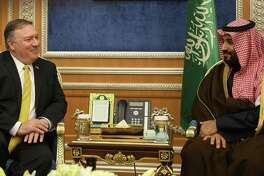 Secretary of State Mike Pompeo meets with Crown Prince Mohammed bin Salman in Riyadh, Saudi Arabia. Saudi Arabia and the crown prince have not suffered appreciably after murdering dissident Jamal Khashoggi in Turkey.
