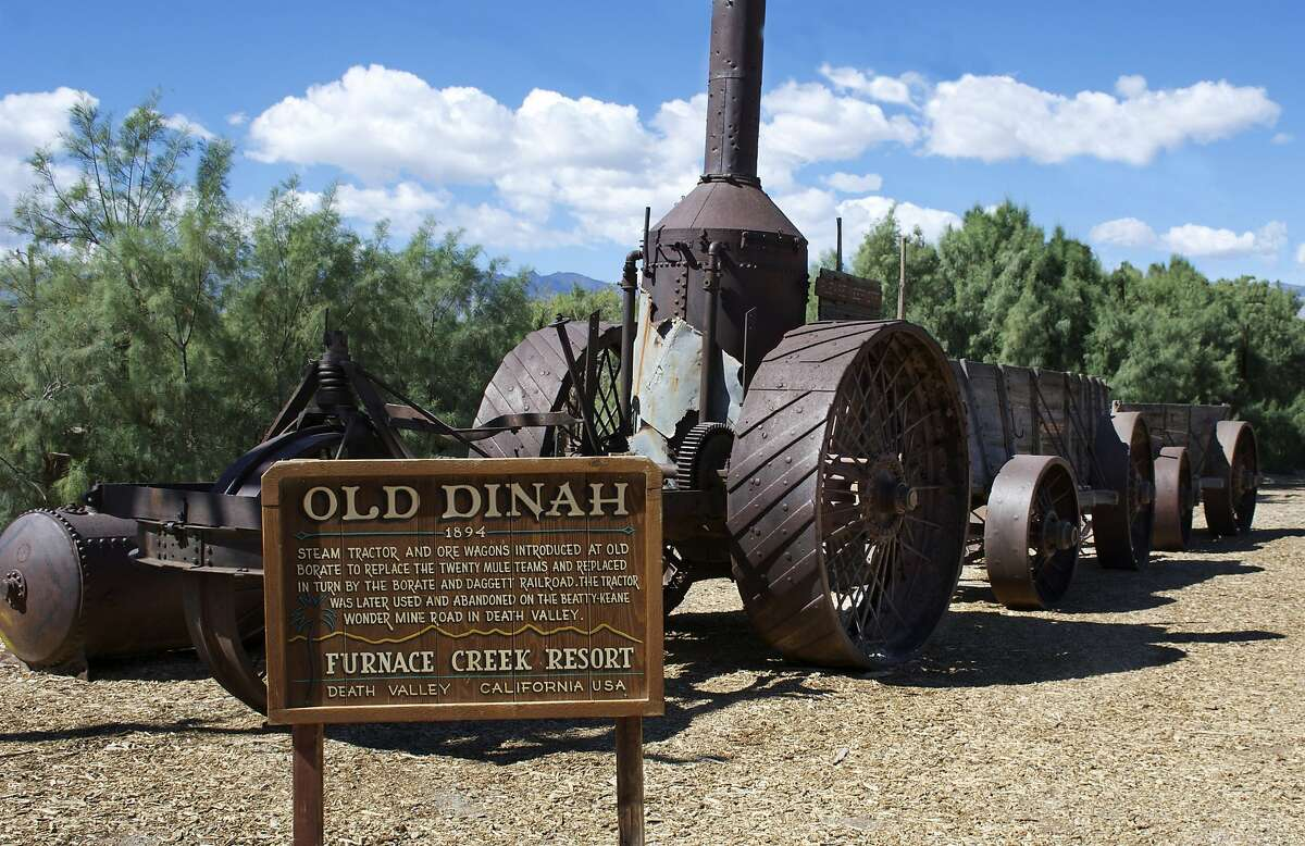 Old Dinah, a steam tractor and ore wagon designed to replace the mule teams that carried borax out of Death Valley.