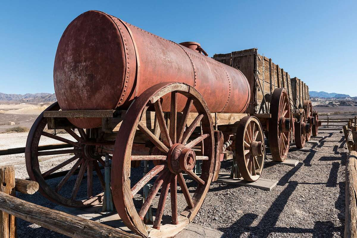 At the Harmony Borax Works in Death Valley, mule-teams were replaced by wagons like this one to haul the mineral away.