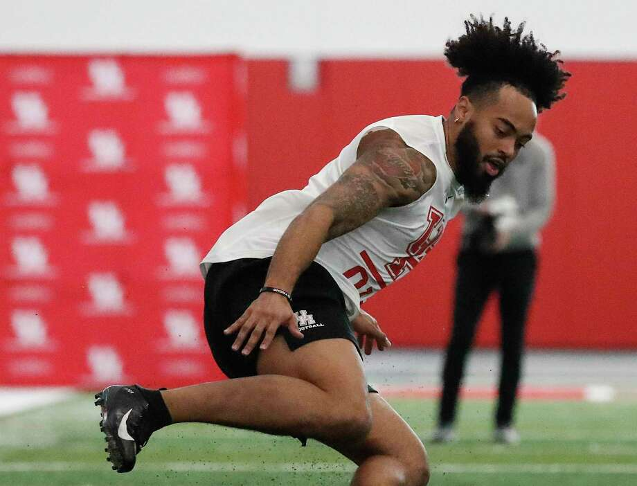 PHOTOS: Former Houston high school stars in the 2019 NFL draft Emeke Egbule runs the 5-10-5 shuttle at the University of Houston's pro day in March. >>>See which players from the Houston area may be selected for this year's draft ... Photo: Karen Warren, Houston Chronicle / Staff Photographer / © 2019 Houston Chronicle