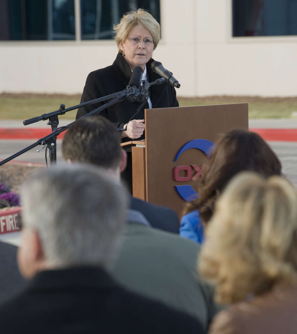 Vicki Hollub, president and CEO of Oxy, speaks Dec. 18, 2015, at the opening of the Occidental Petroleum Corp. Midland office complex. Oxy has announced a $38 billion bid to buy Anadarko.