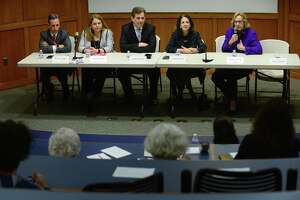 The League of Women Voters of Norwalk hosts the rescheduled Pie and Politics featuring a legislative panel with State Senator Bob Duff and State Representatives Lucy Dathan, Chris Perone, Gail Lavielle and Terrie Wood Tuesday, April 23, 2019, at Norwalk Community College in Norwalk, Conn. The annual event is an opportuniy for the community to voice concerns and ask questions of area state legislators.