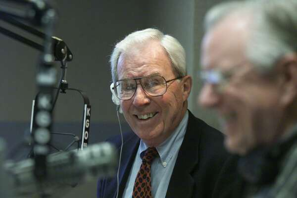 Jim Dunbar (left) with co-anchor Ted Wygant at the microphone for the morning show on KGO-AM where he developed the popular newstalk format.
