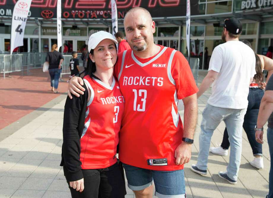 Houston Rockets fans pose for a photograph before Game 5 of first round of the NBA Playoffs game at Toyota Center on Wednesday, April 24, 2019, in Houston. Photo: Yi-Chin Lee, Staff Photographer / © 2019 Houston Chronicle