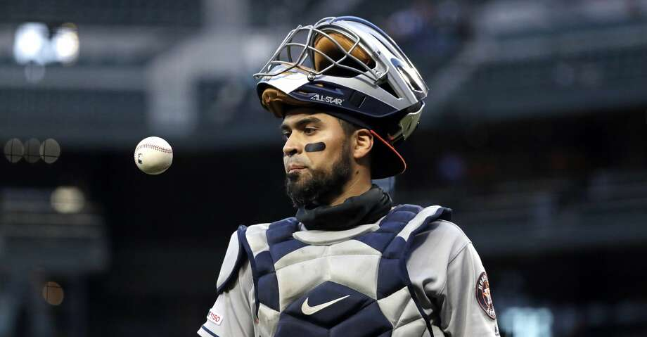 PHOTOS: Astros game-by-game Houston Astros catcher Robinson Chirinos pops a ball up as he walks off the field against the Seattle Mariners in a baseball game Saturday, April 13, 2019, in Seattle. (AP Photo/Elaine Thompson) Browse through the photos to see how the Astros have fared in each game this season. Photo: Elaine Thompson/Associated Press