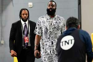 Houston Rockets guard James Harden (13) walks into the Toyota Center before Game 5 of the NBA playoffs against the Utah Jazz on Wednesday, April 24, 2019 in Houston.