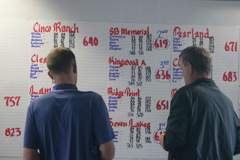 Eagle Pointe Golf Course officials  update the Region III girls golf scores during Wednesday's final 18 holes. Katy Seven Lakes claimed the Region III title by one stroke and now advance to state along with SB Memorial and Kingwood. Photo: Robert Avery