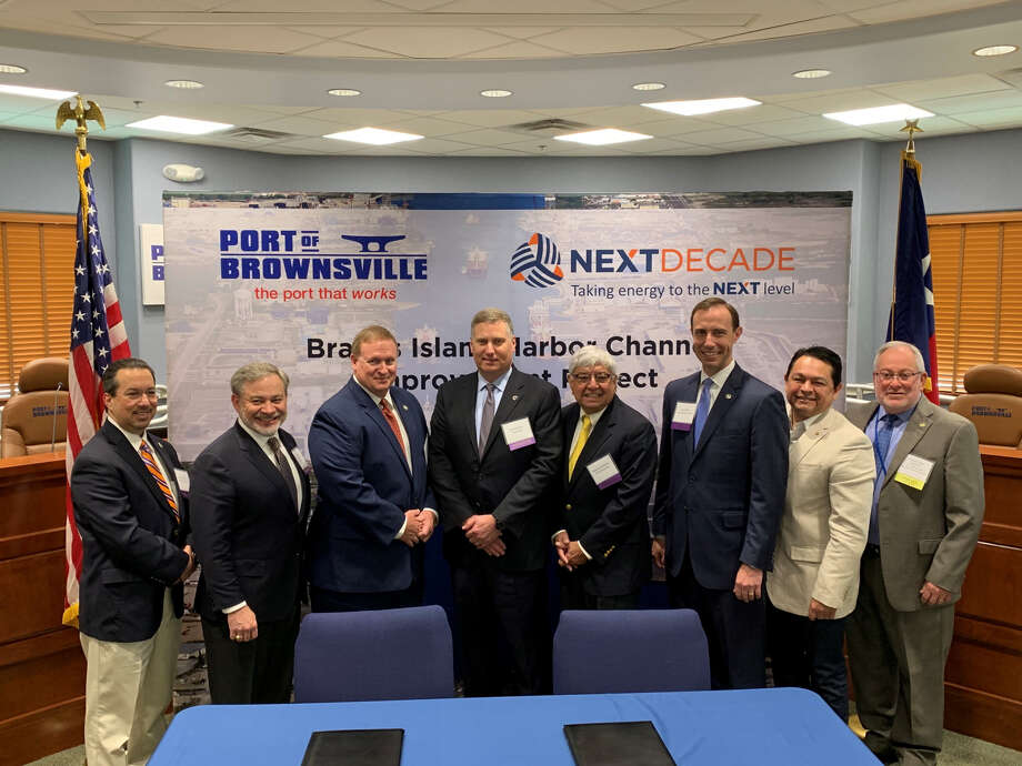 During a Wednesday morning signing ceremony, Houston liquefied natural gas company NextDecade has entered into an agreement to deepen nearly half of Brownsville Ship Channel. From left: Cameron County Judge Eddie Trevino Jr, U.S. Deputy Secretary of Energy Dan Brouillette, Brownsville Navigation District Chairman John Reed, NextDecade CEO Matt Schatzman, Brownsville Mayor Tony Martinez, Texas Secretary of State David Whitley, Brownsville Navigation District Vice Chairman Sergio Tito Lopez and Port of Brownsville CEO Eddie Campirano. Photo: Office Of The Texas Secretary Of State